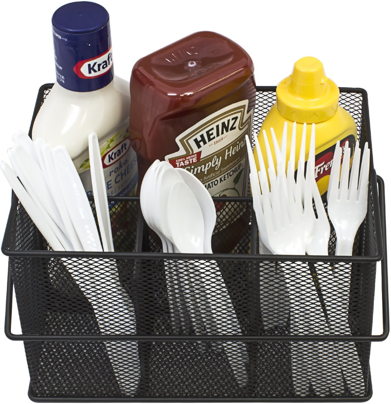 Utensil Caddy Silverware Napkin Holder And Condiment Organizer Multi Purpose Steel Mesh Caddy Ideal For Kitchen Dining Entertaining By Sorbus Walmart Com Walmart Com