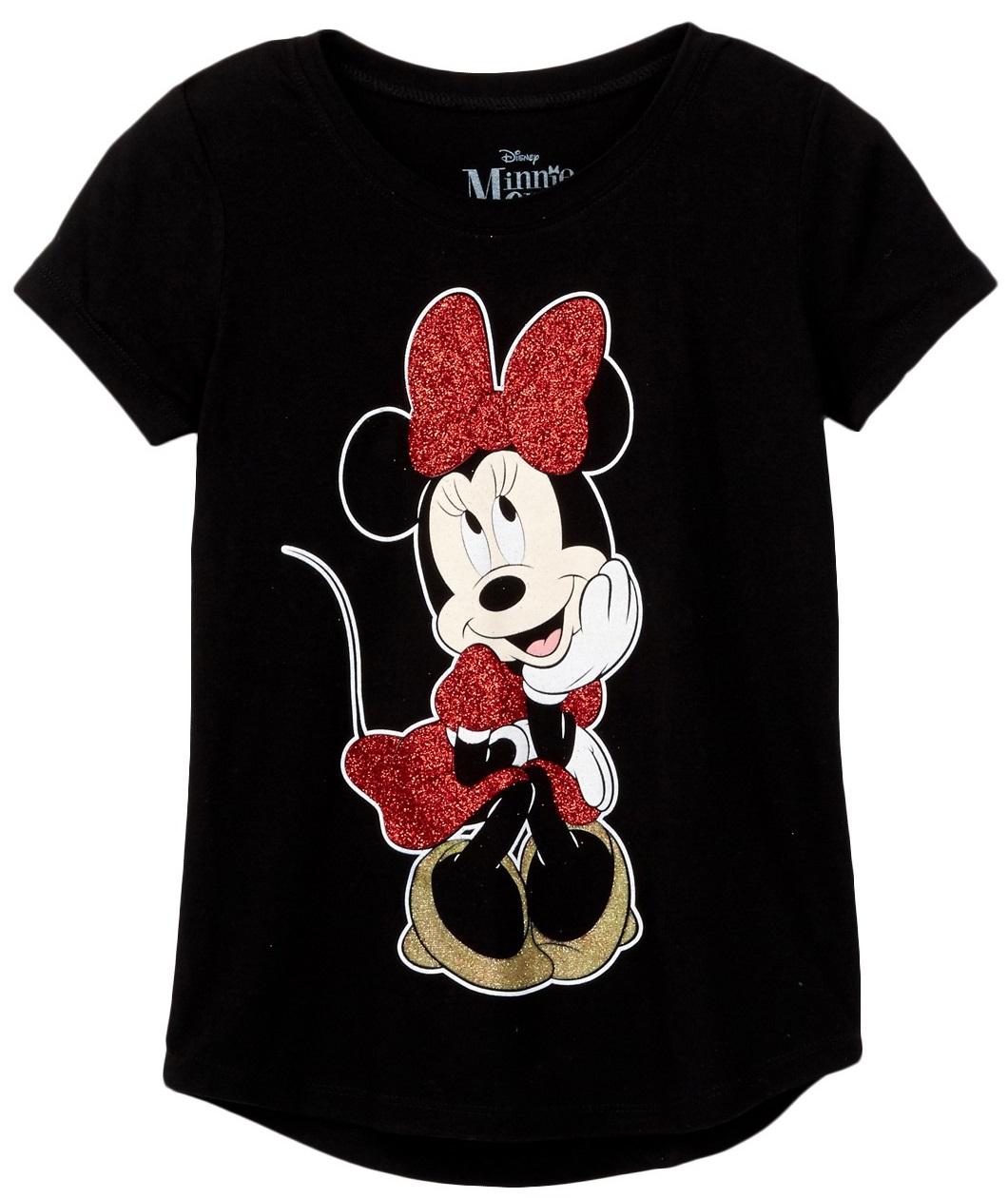 Girls Minnie Mouse Sitting Red Gold Glitter T-Shirt Black