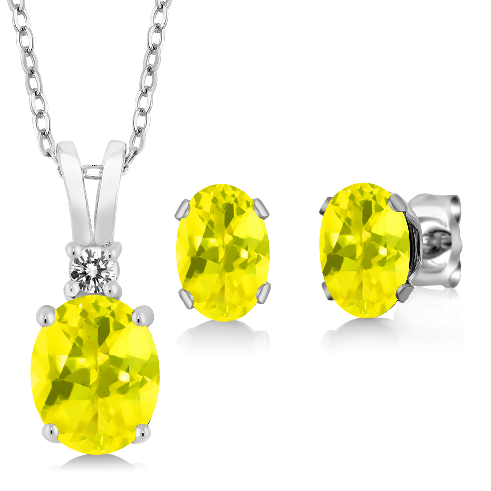 3.57 Ct Oval Canary Mystic Topaz 925 Sterling Silver Pendant Earrings Set by