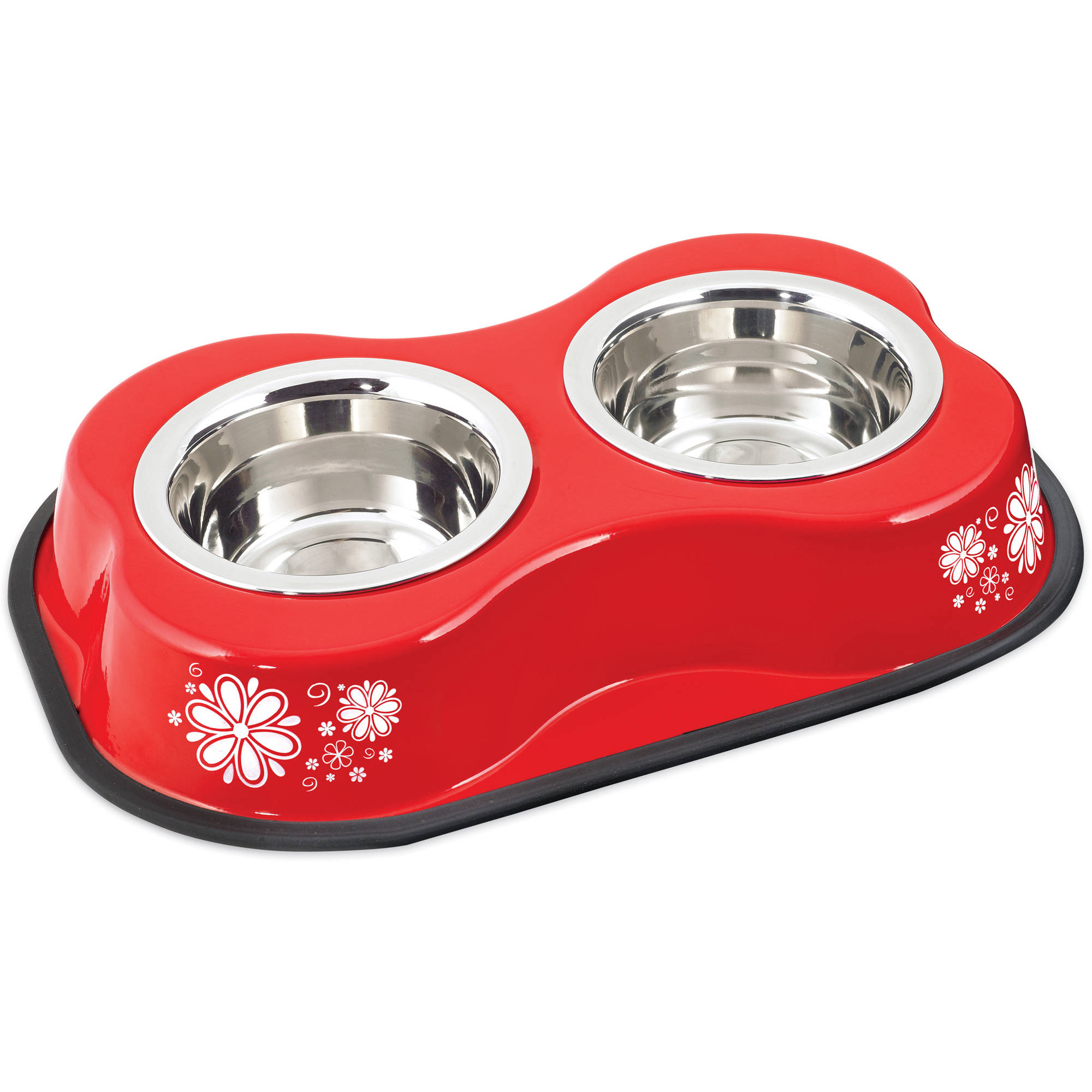 Bone Shaped Double Diner W/2 1pt Stainless Steel Bowls, Flower Pattern Red
