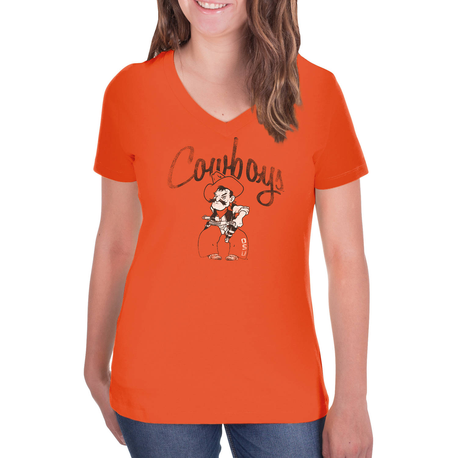 NCAA Oklahoma State Cowboys Women's V-Neck Tunic Cotton Tee Shirt