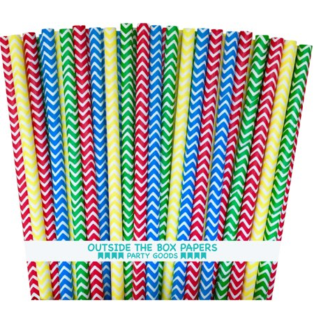 Red,Yellow, Blue and Green Chevron Lego Paper Straws  100 Pack