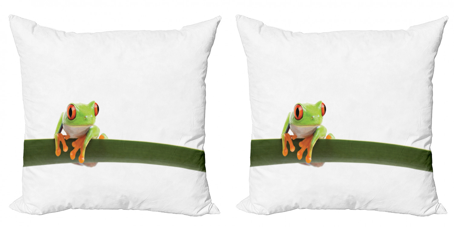 Animal Throw Pillow Cushion Cover Pack Of 2 Red Eyed Tree Frog Perches On A Long Slim Leaf Tropic Rainforest Animal Wild Life Zippered Double Side Digital Print 4 Sizes Green White By