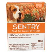 Sergeants Pet Care Prod 3 Count Sentry Flea and Tick Squeeze-On Dog Drop, 15-...
