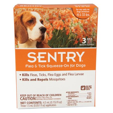 Sergeants Pet Care Prod 3 Count Sentry Flea and Tick Squeeze-On Dog Drop, -
