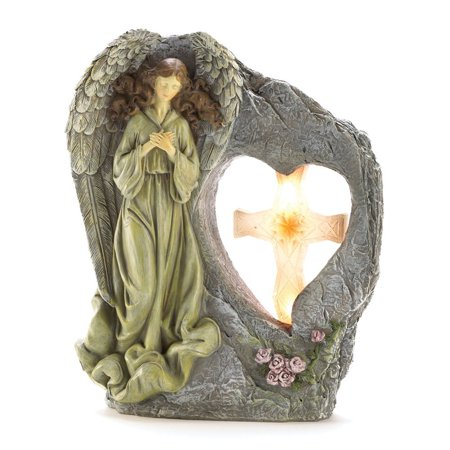 Koehler Home Accent Divine Sentinel Angel Cross Decorative Solar Garden Light  Weight 2 Lbs  By Us Gift