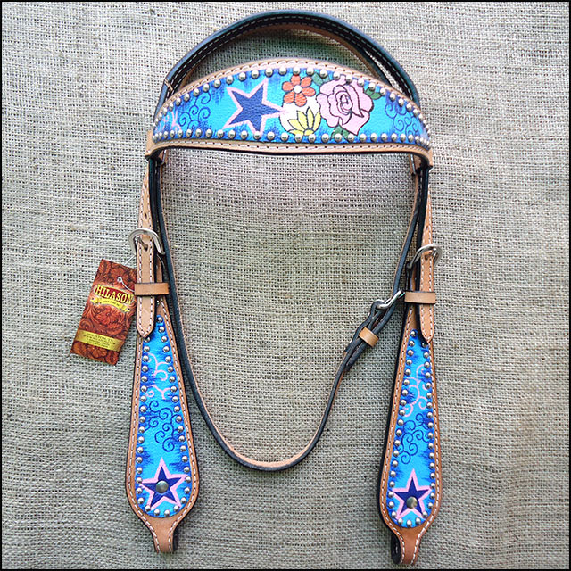 HILASON WESTERN LEATHER HORSE BRIDLE HEADSTALL BREAST COLLAR HAND PAINT FLORAL