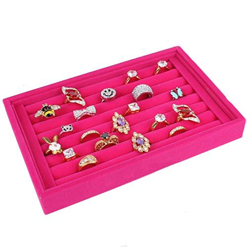 Estink Ring Velvet Jewellery Display Box 7 Slots Ring Earrings