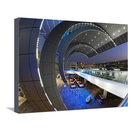 Stylish Modern Architecture of the 2010 Opened Terminal 3 of Dubai International Airport, Dubai, Un Stretched Canvas Print Wall Art By Gavin Hellier