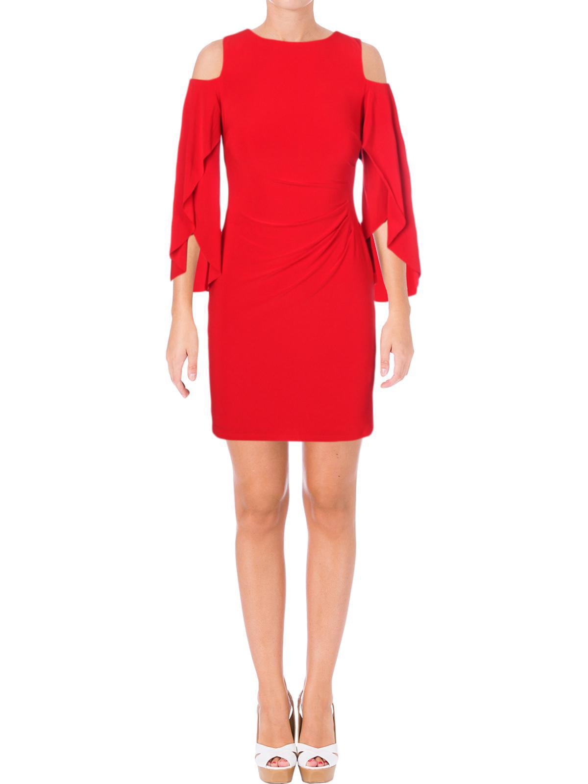 Lauren Ralph Lauren Womens Petites Debbie Cold Shoulder Cocktail Dress