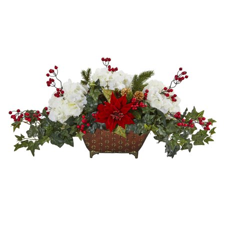 Nearly Natural Poinsettia, Hydrangea and Ivy Artificial Arrangement