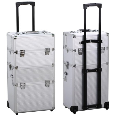 Yaheetech In Professional Aluminum Artist Train Case Cosmetic - Aluminum trolley case pro rolling makeup cosmetic organizer