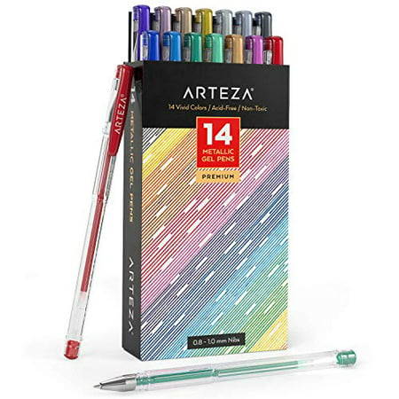 Arteza Metallic Gel Pens 14-Individual-Colors - Triangular Grip - (0.8-1.0 mm Tips, Set of 14)