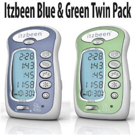 Itzbeen Blue   Green Twin Pack Baby Care Timer