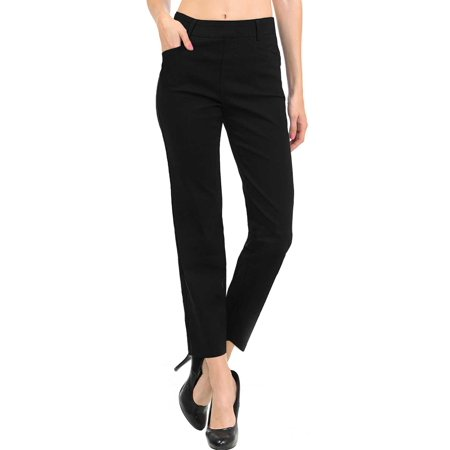 NEW Women's Straight Fit Trouser Ankle Pants (Large, Black)