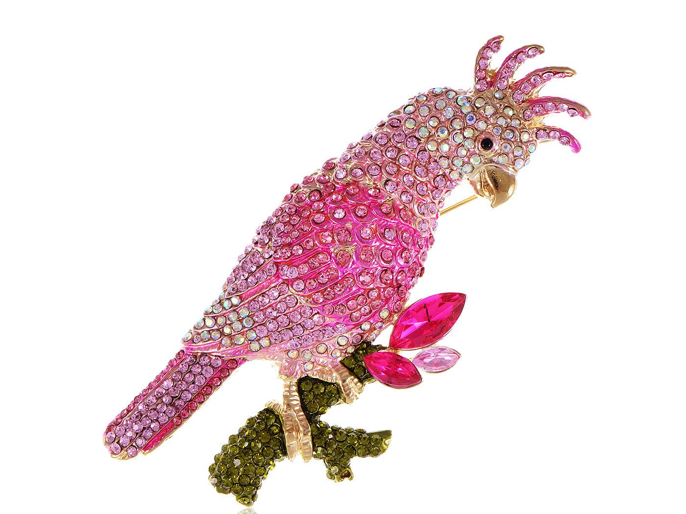Fuchsia Pink Tropical Parrot Bird Perch Swarovski Crystal Rhinestone Pin Brooch by
