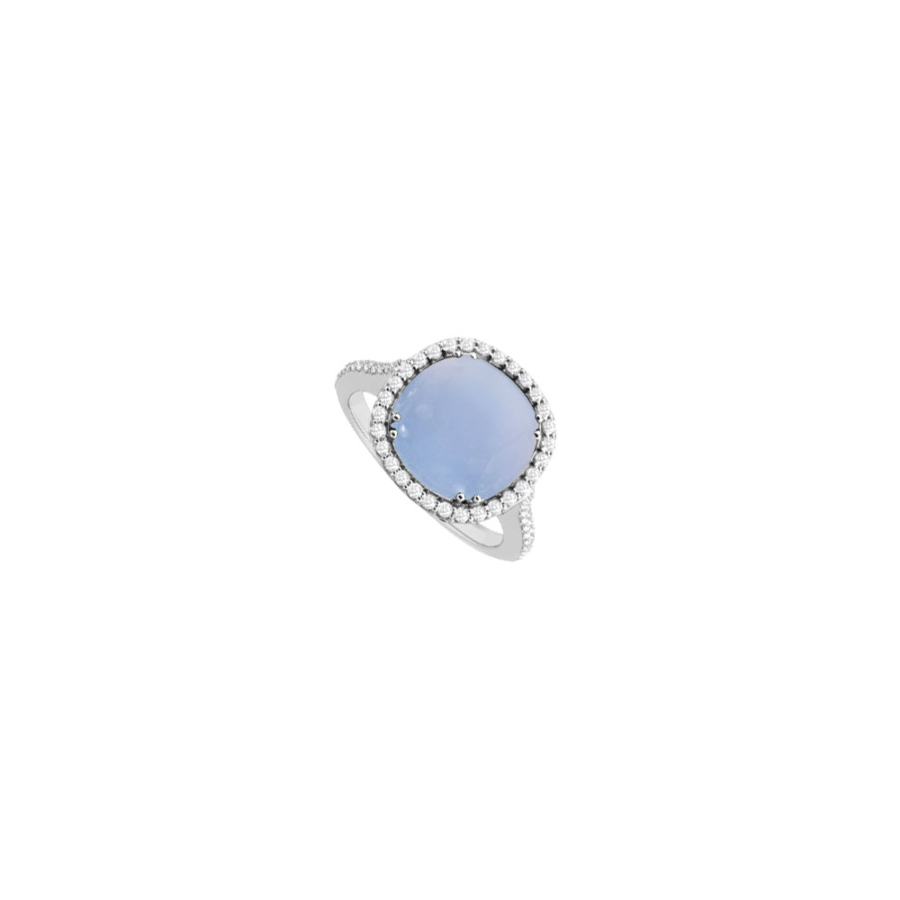 Sterling Silver Blue Chalcedony and Cubic Zirconia Ring 3.50 CT TGW by Love Bright