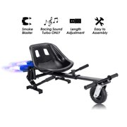 """Black Upgrade Hoverboard Go Kart Seat Attachment With Fog Blaster & LED Lights, Buggy, Conversion Kit, Hoverboard Go Cart Accessories, Heavy Duty Frame, Fun for Kids Fits 6.5""""/8""""/10"""""""