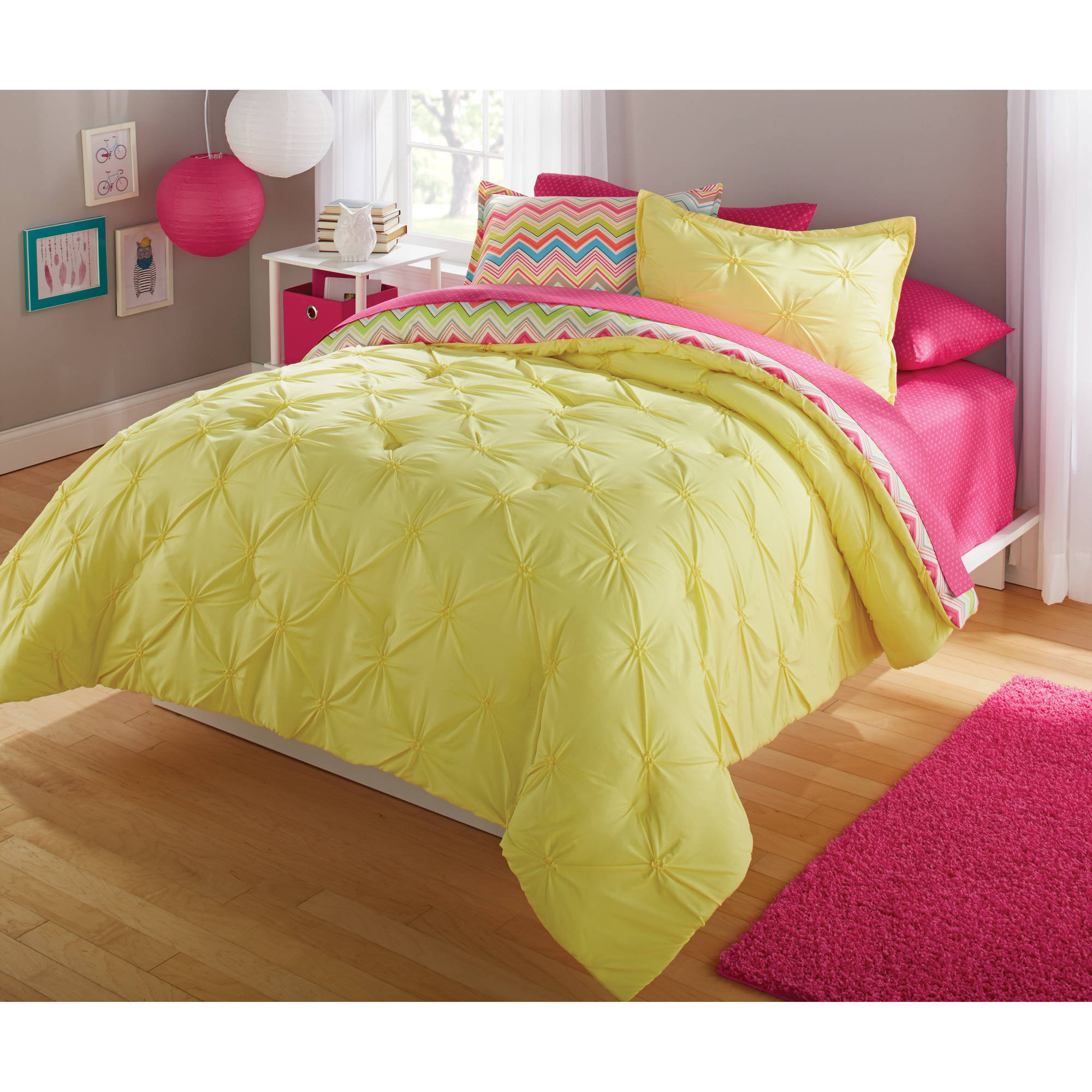 Your Zone Bedding Comforter Set Bright Chevron Walmart Com