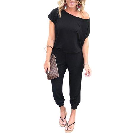 1c7f5e58594 Sexy Dance - Women Slash Shoulder Solid Jumpsuit Wrap Short Sleeve Office  Casual Loose Baggt Long Pants Romper Overalls - Walmart.com