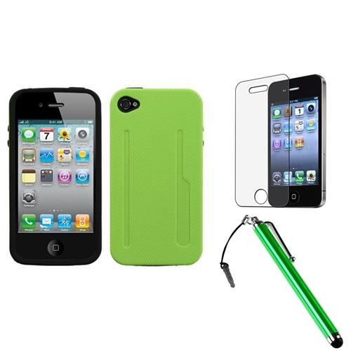Insten Natural Pearl Green/Black Fusion Case For iPhone 4 4S + Stylus + LCD Film