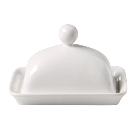 Home Essentials Covered Butter Dish - Porcelain - White ()