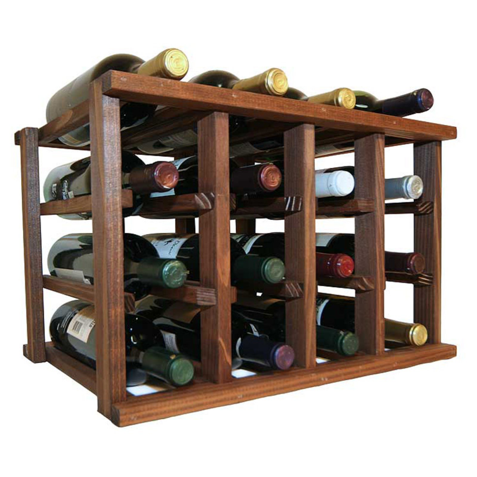 WCI Mini Stack Series 12 Bottle Individual Wine Rack - Premium Redwood Dark Walnut Stain