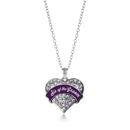 Plum Sis Of The Groom Pave Heart Necklace