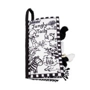 Baby Cloth Book Early Education Teaching Aid Black White Tail Cloth Book for Toddler Kids Visual Experience Interaction Games Toy