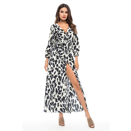 Women Chiffon Holiday Leopard Frill Beach Print Splits Maxi -