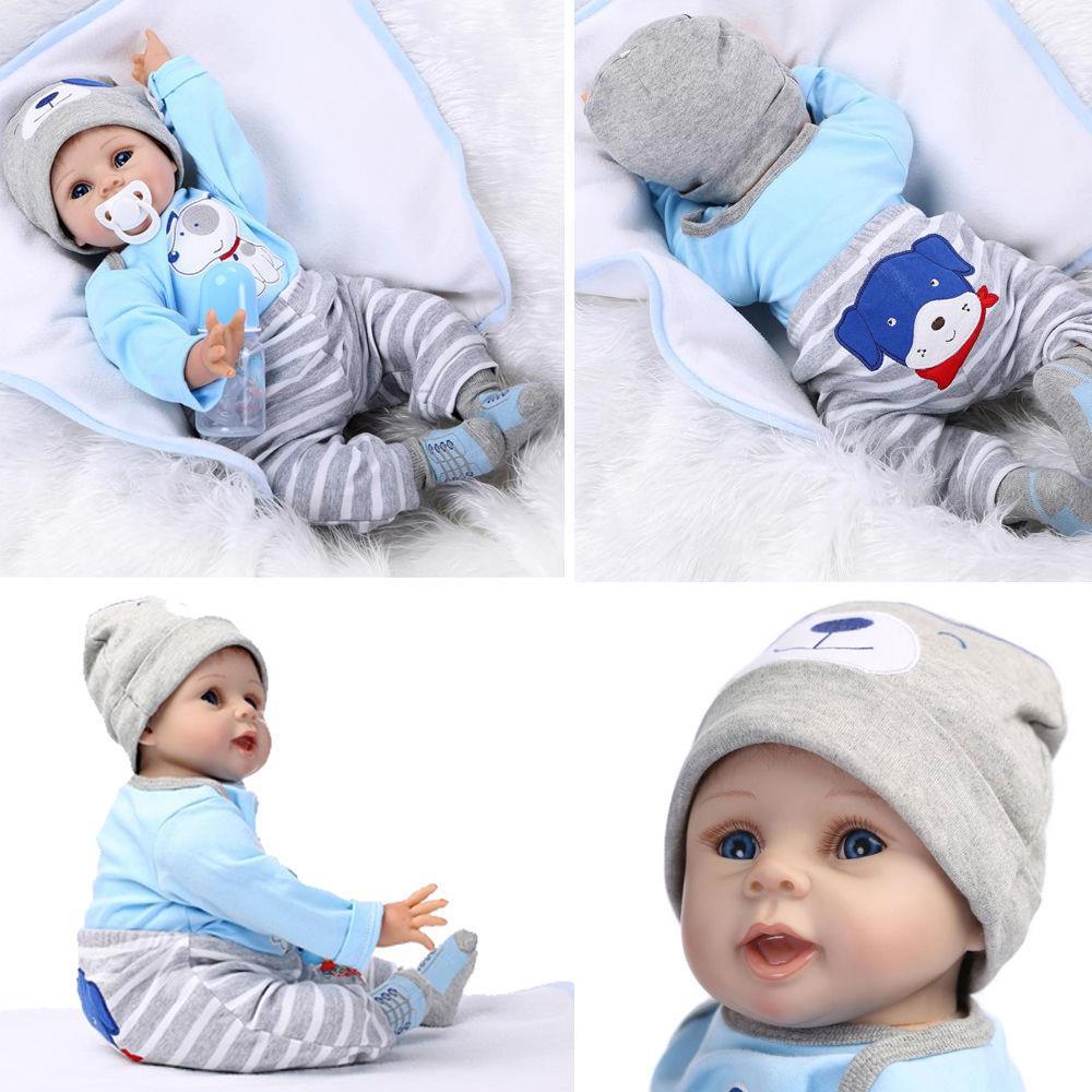 "22/"" NPK Solid Silicone Lifelike Baby Doll Preemie Handmade Dolls Gift Toy US"