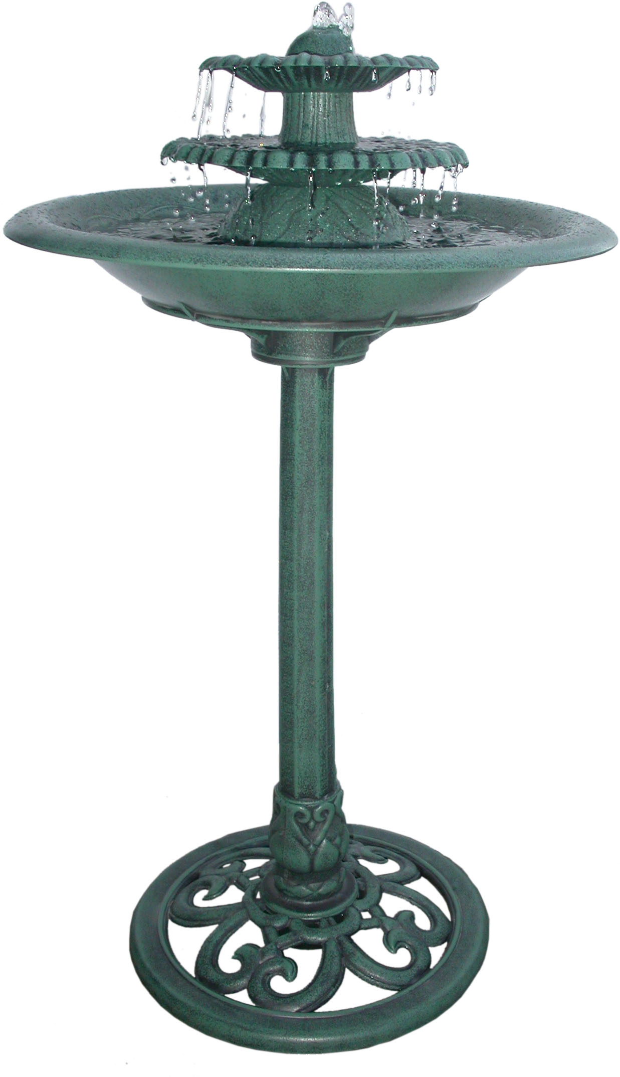 36 Inch Tiered Pedestal Fountain Birdbath by Benzara