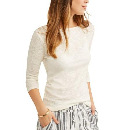 Women's Lightweight Boatneck 3/4 Sleeve T-Shirt