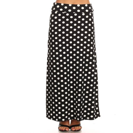 MOA COLLECTION Women's Solid Pattern Print Office Work Loose Fit Elastic A-line Maxi Skirt/Made in USA