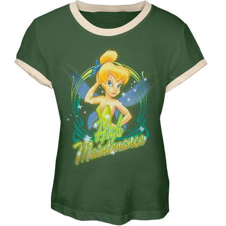 Tinkerbell - High Maintenance Girl's Youth Ringer T-Shirt - Tinkerbell Girls