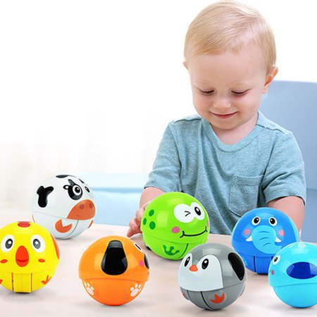 Baby Cute Animal Roly-Poly Tumbler Toy Inertia Climbing Toy Ring Bell Crawling Novelty Early Educational Toy