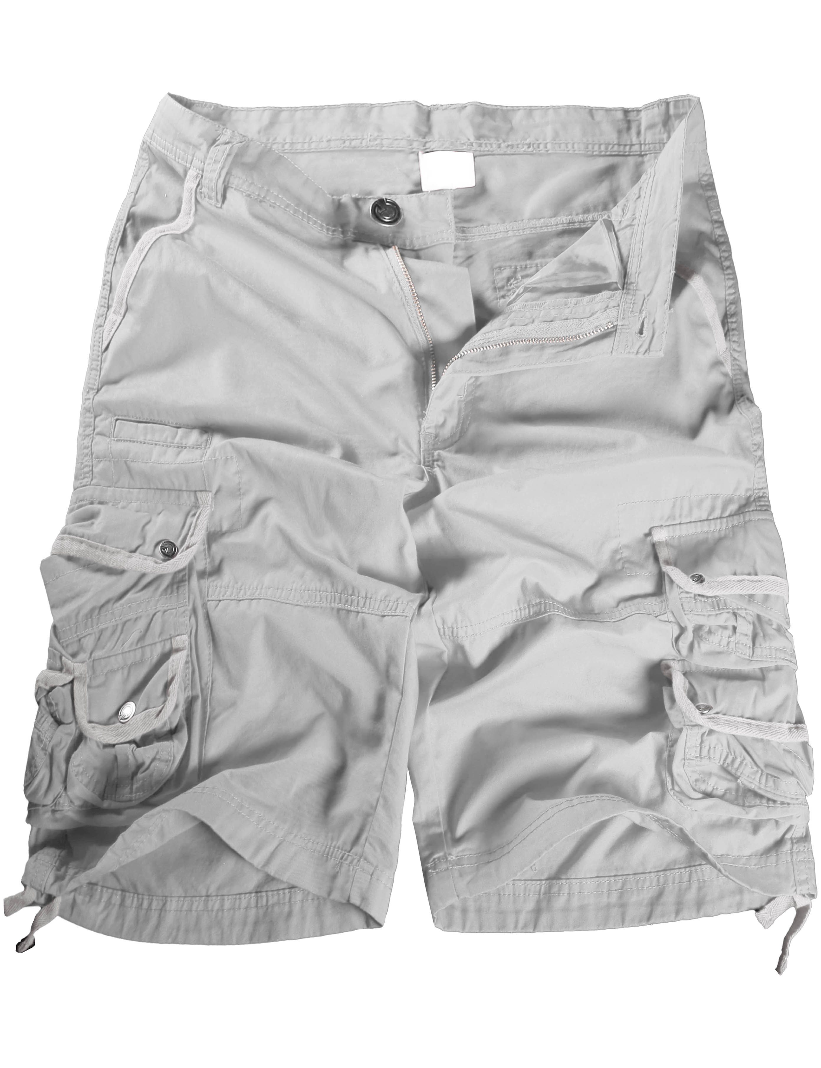 Mens Premium Cargo Shorts Twill Cotton Pants Multi Pocket Work Outdoor Utility