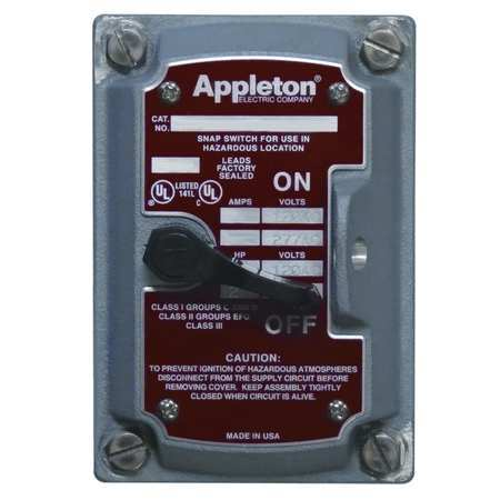 Appleton EDSF22Q Cover/Chamber/Switch ,2-Pole,1Gang,20A