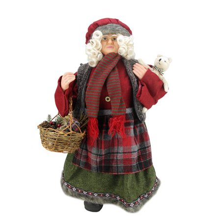 Northlight Seasonal Country Chef Standing Mrs. Claus Christmas Figure with Basket ()