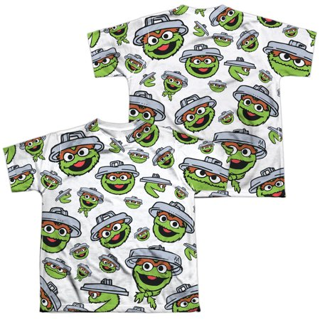 - sesame street show oscar faces pattern boys youth front/back print t-shirt tee