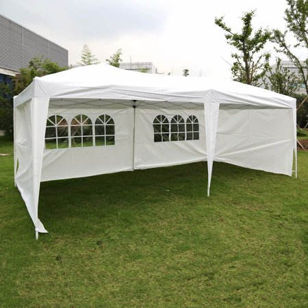 (Kinbor 10'x 20' Pop Up Wedding Party Tent Foldable Gazebo Canopy Shelter W/4 Walls Panels White)