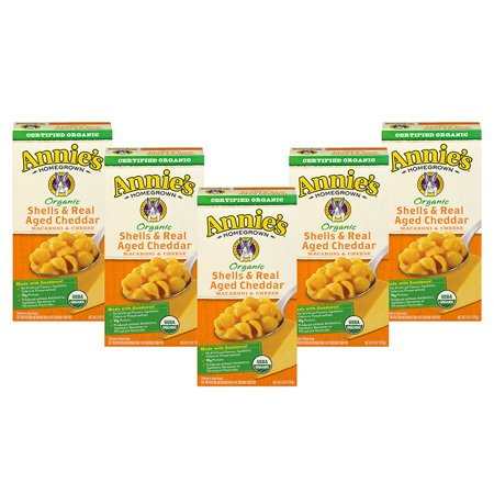 (5 Pack) Annie's Organic Shells and Real Aged Cheddar Mac and Cheese, 6 oz
