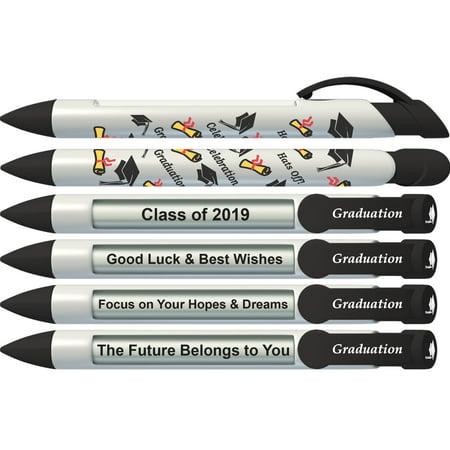 Party Pen by Greeting Pen- Graduation Rotating Message Pen - 6 Pack (36517) (Graduation Pens)
