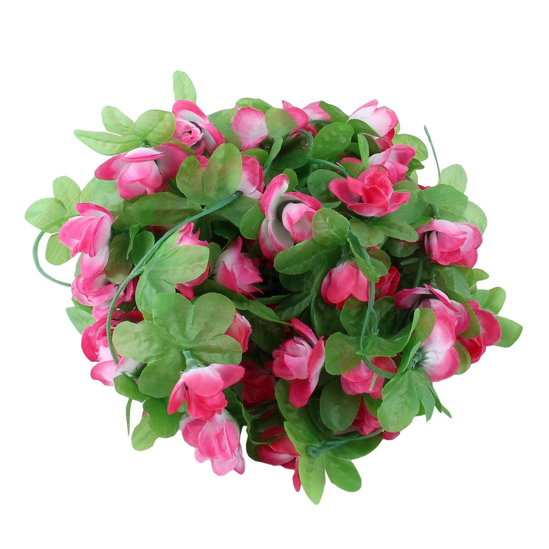 Wedding Plastic Artificial Flower Hanging Ivy Vine Pink White 7.2ft Length 2pcs