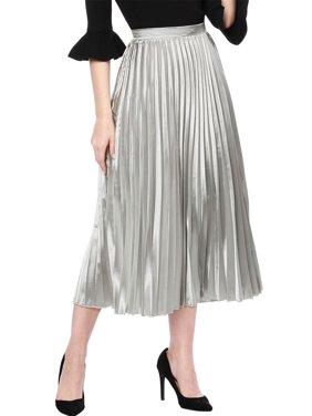 0aed9e2bb32f Product Image Women s High Waist Party Accordion Pleats Metallic Midi Skirt  Dress