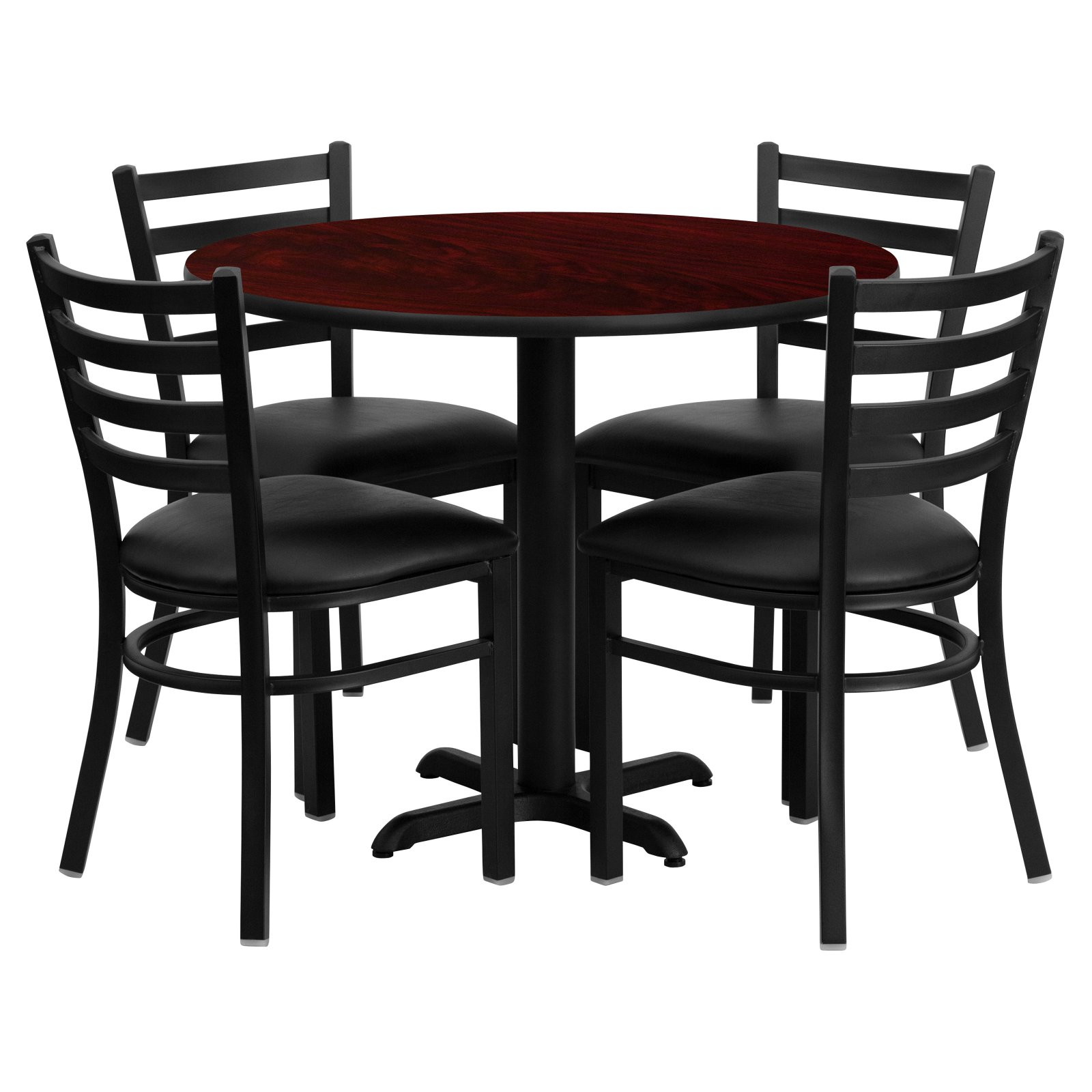 Flash Furniture 36'' Round Mahogany Laminate Table Set with 4 Ladder Back Metal Chairs, Black Vinyl Seat Black, Mahogany