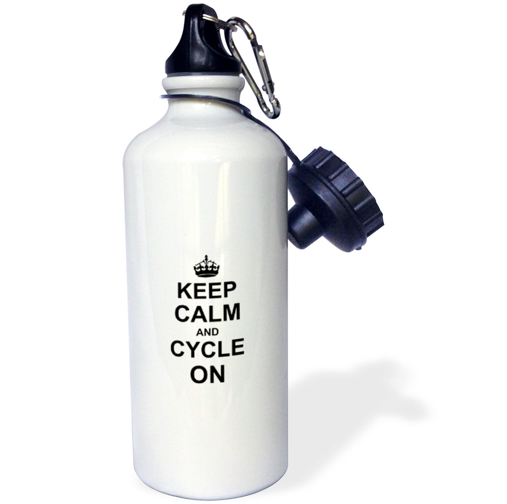 3dRose Keep Calm and Cycle on - carry on cycling - gift for cylists - bicycle - fun funny humor humorous, Sports Water Bottle, 21oz