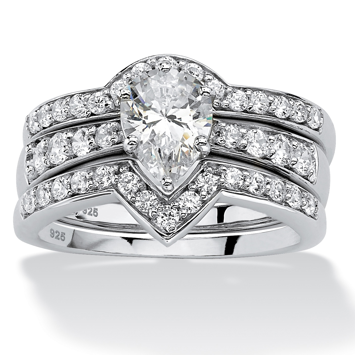 3 Piece 1.94 TCW Pear-Cut Cubic Zirconia Bridal Ring Set in Platinum over Sterling Silver by PalmBeach Jewelry