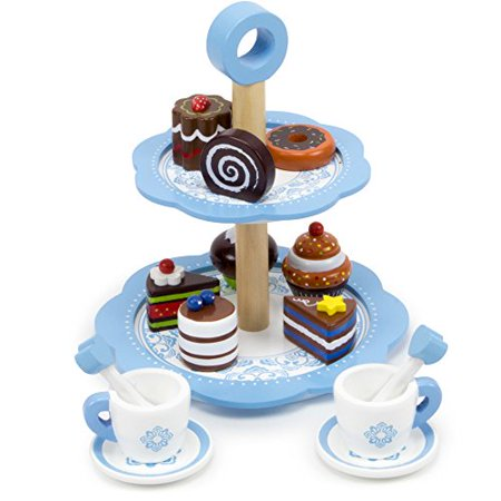 Tea Time Chocolate Pastry Tower With Two-Tier Classic Blue Dessert Tower, 8 Unique Pastries, And 2 Tea Cups, Saucers And Stirrers By Imagination Generation - image 1 de 6