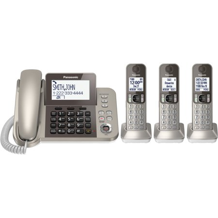 Panasonic DECT 6.0 Phone System with Answering Machine and Three Cordless Handsets in Champagne Gold